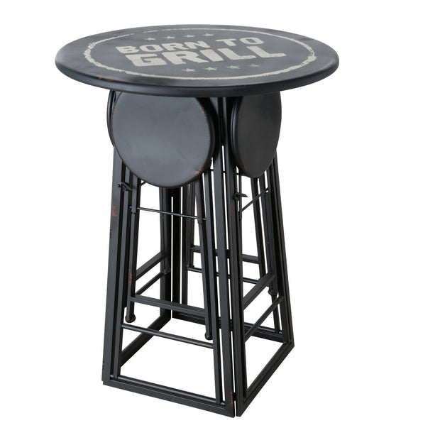 BBQ Table & Fold Down Stools Set