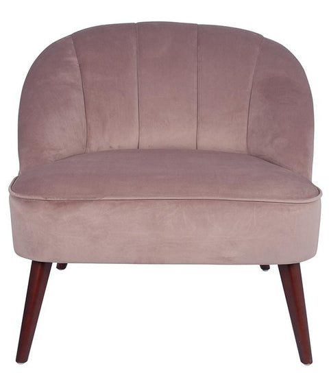 Velvet Curved Back Chair With Walnut Effect Legs - Blush