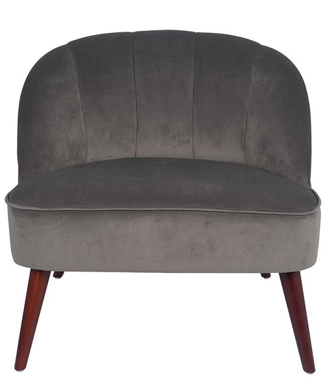Velvet Curved Back Chair With Walnut Effect Legs - Dove Grey