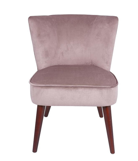 Velvet Curved Back Dining Chair With Walnut Effect Legs - Set Of 2 - Blush
