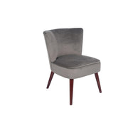 Velvet Curved Back Dining Chair With Walnut Effect Legs - Set Of 2 - Dove Grey
