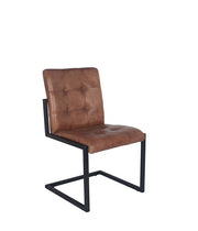Vintage Brown Leather & Iron Dining Chair - Set Of 2