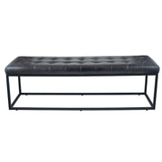 Leather Buttoned Bench - Steel Grey