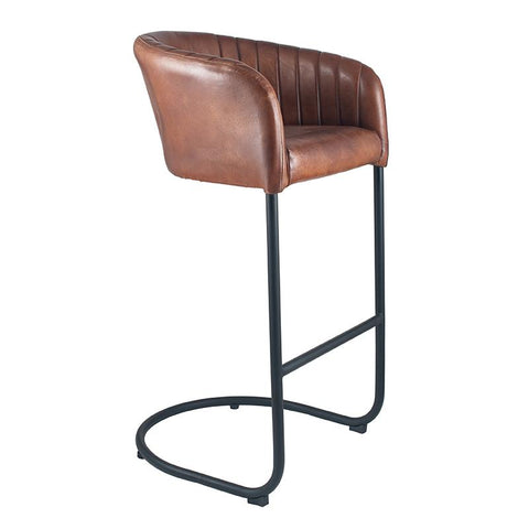 Leather Curved Bar Stool - Brown