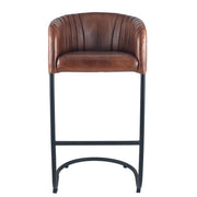 Leather Curved Back Chair - Brown