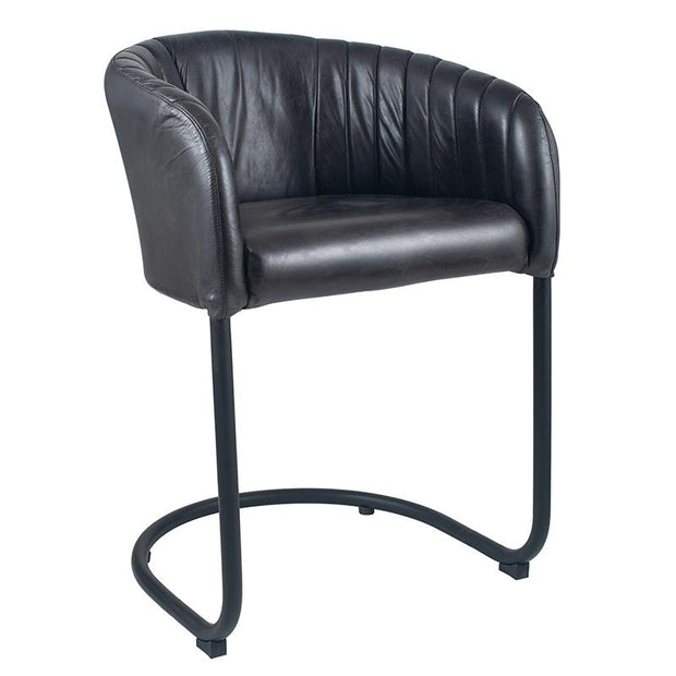 Leather Curved Back Chair - Grey