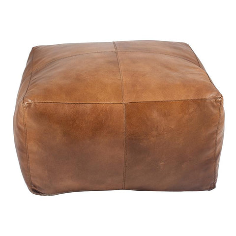Square Leather Pouffe - Tan