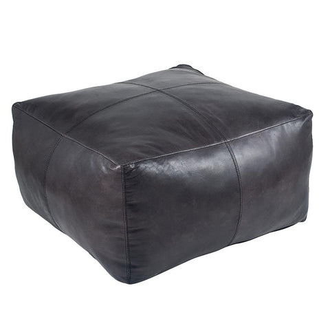 Square Leather Pouffe - Grey