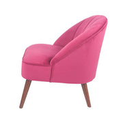Velvet Curved Back Chair with Walnut Effect Legs - Raspberry