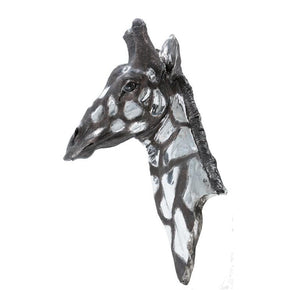 Dappled Silver Giraffe Head Wall Plaque