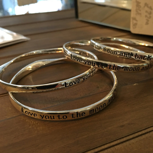 Love you to the Moon & Back Bangles - Allissias Attic  &  Vintage French Style