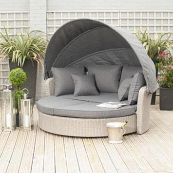 Cayman Round Day Bed - Stone Grey