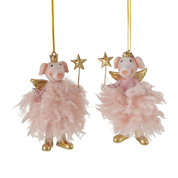 Piggy Hanging Angels in Pink