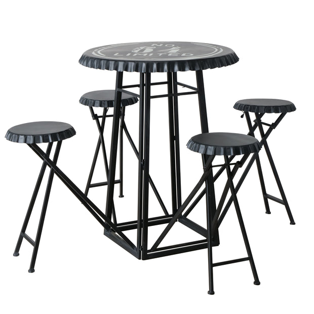 Bottletop Table & Fold Down Stools Set