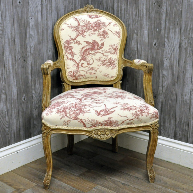 Louis Armchair in Red Tapestry Upholstery - Allissias Attic  &  Vintage French Style