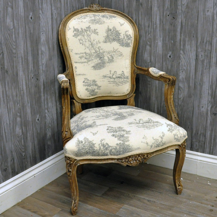 Louis Armchair In Grey Tapestry Upholstery   Allissias Attic U0026 Vintage  French Style