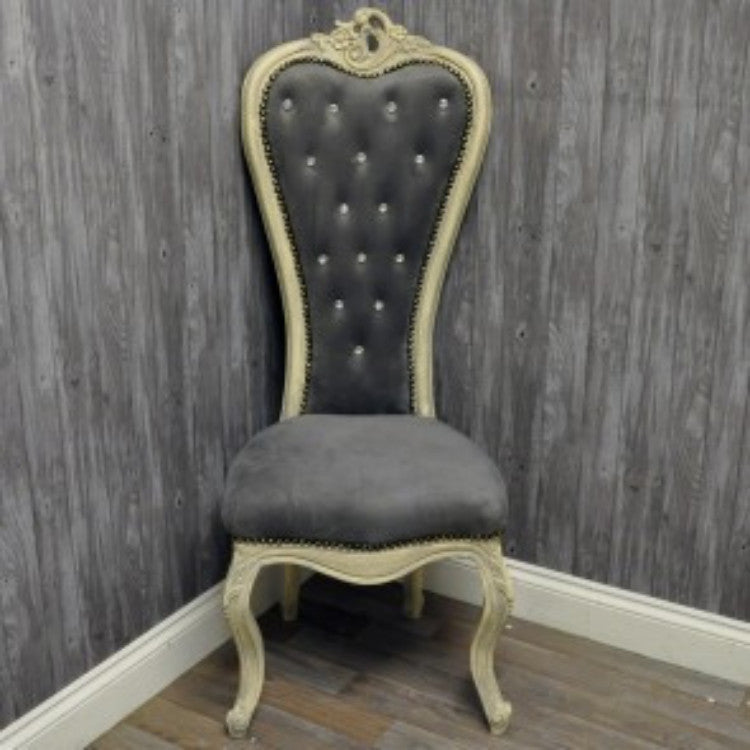 Wedding Chair - Antique Grey/Grey Velvet - Allissias Attic  &  Vintage French Style