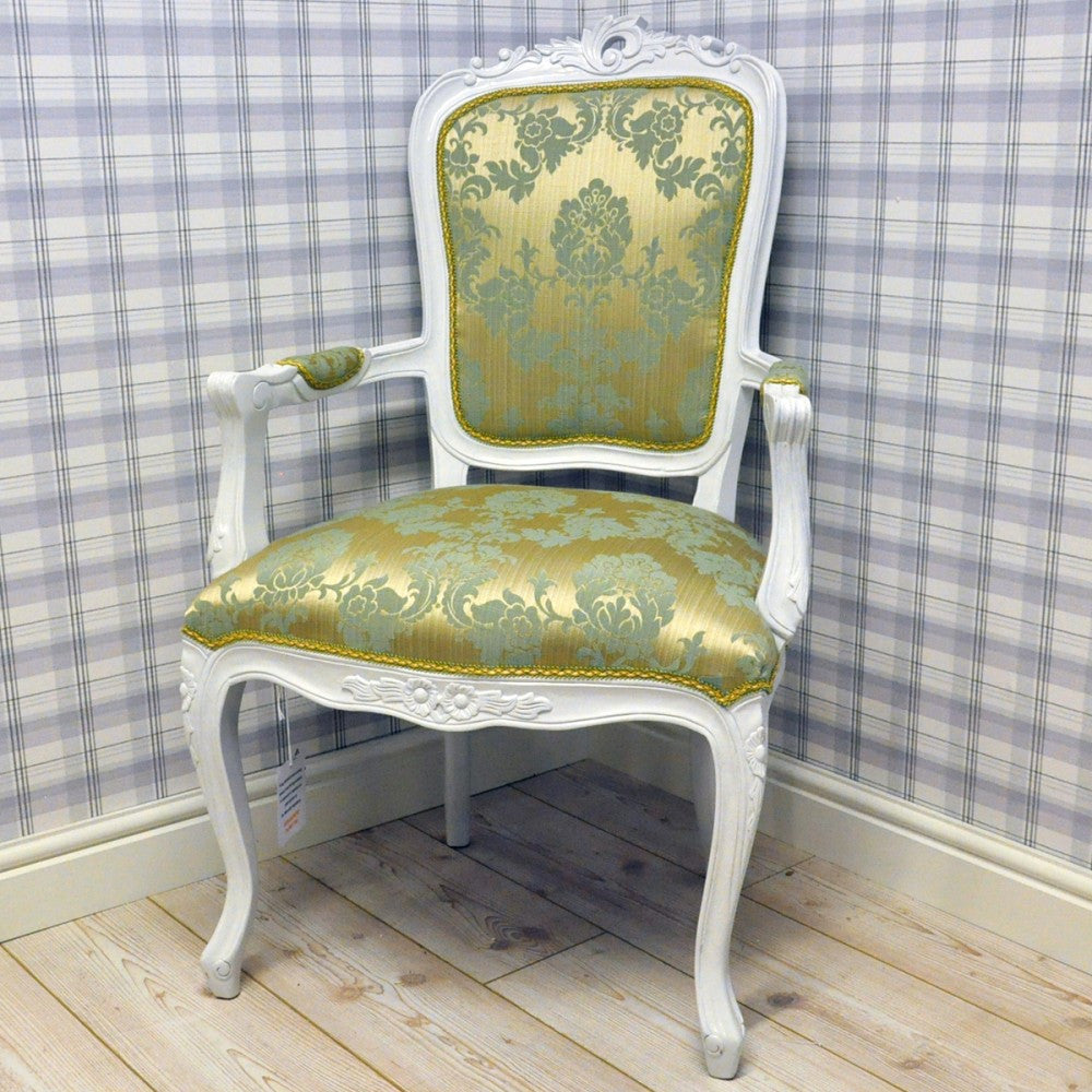Louis Armchair in Brocade- duck egg - Allissias Attic  &  Vintage French Style