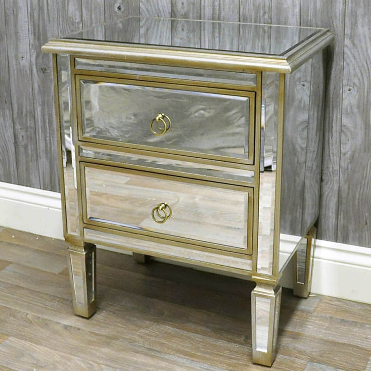 Venetian Glass 2 Drawer Bedside - Allissias Attic  &  Vintage French Style