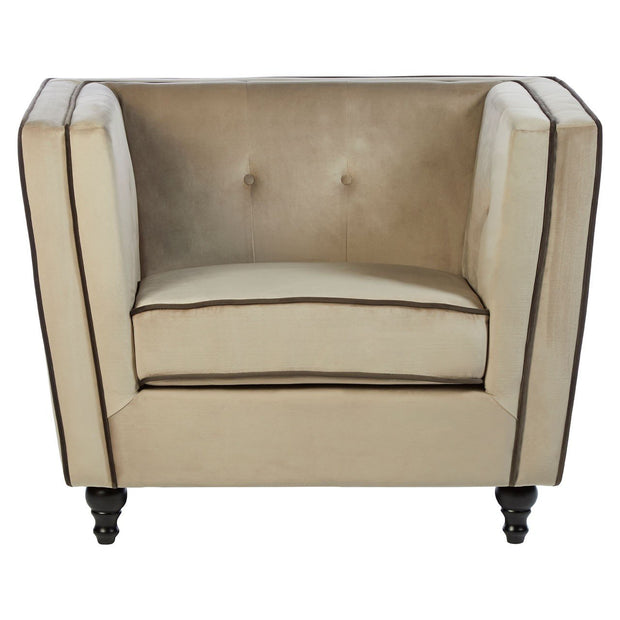 Art Deco Inspired Armchair - Mink Velvet