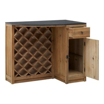 Recycled Timber Bar Island with Wine Rack