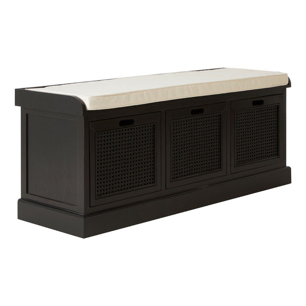 Heritage 3 Drawers Finish Storage Bench - Black