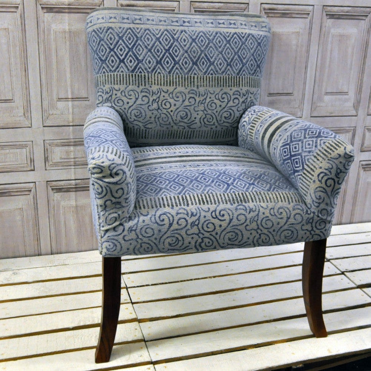 Stone Washed Aztec Pattern Occasional Chair - Allissias Attic  &  Vintage French Style