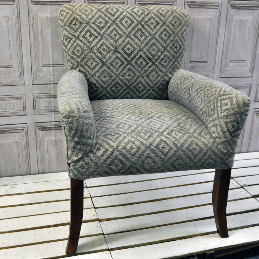 Stone Washed Diamond Pattern Occasional Chair - Allissias Attic  &  Vintage French Style