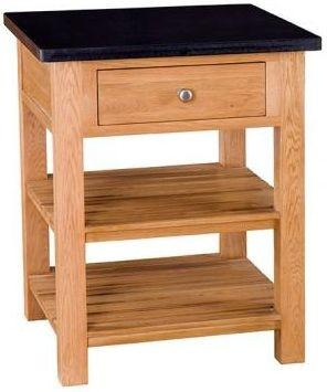 Besp-Oak Square Island with 1 Drawers & 2 Shelves - Granite Top