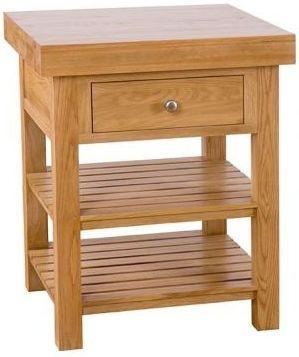 Besp-Oak Square Island with 1 Drawers & 2 Shelves