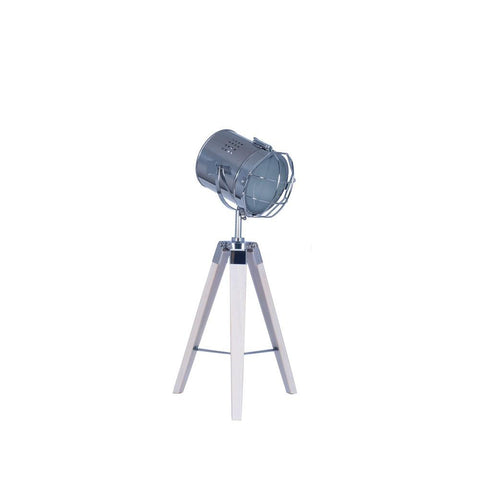 Capstan White Wash Tripod Table Lamp with Chrome Detail - Allissias Attic  &  Vintage French Style - 1