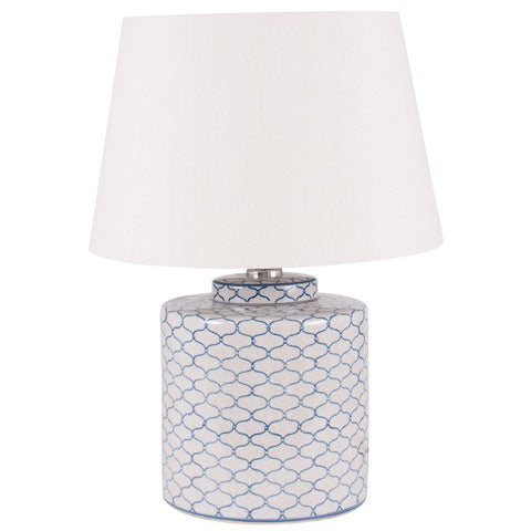 Grey & Blue Pattern Ceramic Table Lamp