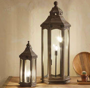 Grey Wood Lantern Table Lamp - Large