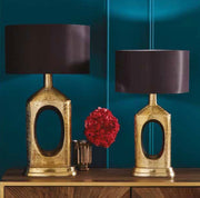 Hammered Brass Bottle Style Table Lamp - Tall