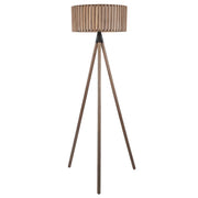 Antique Wood Slat Tripod Lamp & Shade