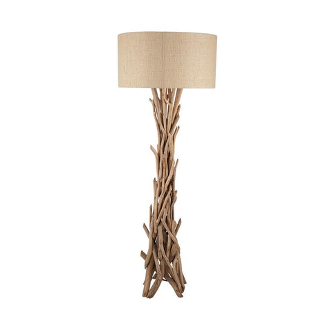 Driftwood Floor Lamp With Jute Shade