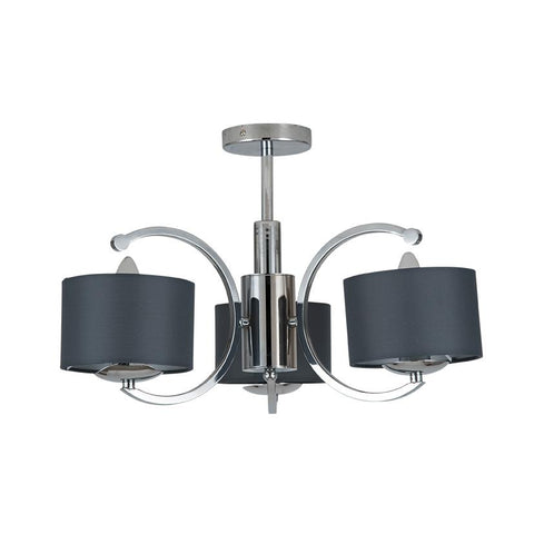 Semi Flush 3 Arm Pendant Light - Silver