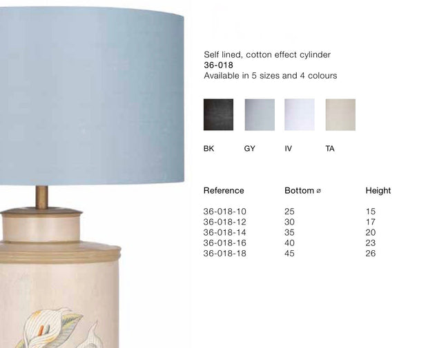 Lamp Shade -Various Sizes & Colours -Cotton Effect Cylinder