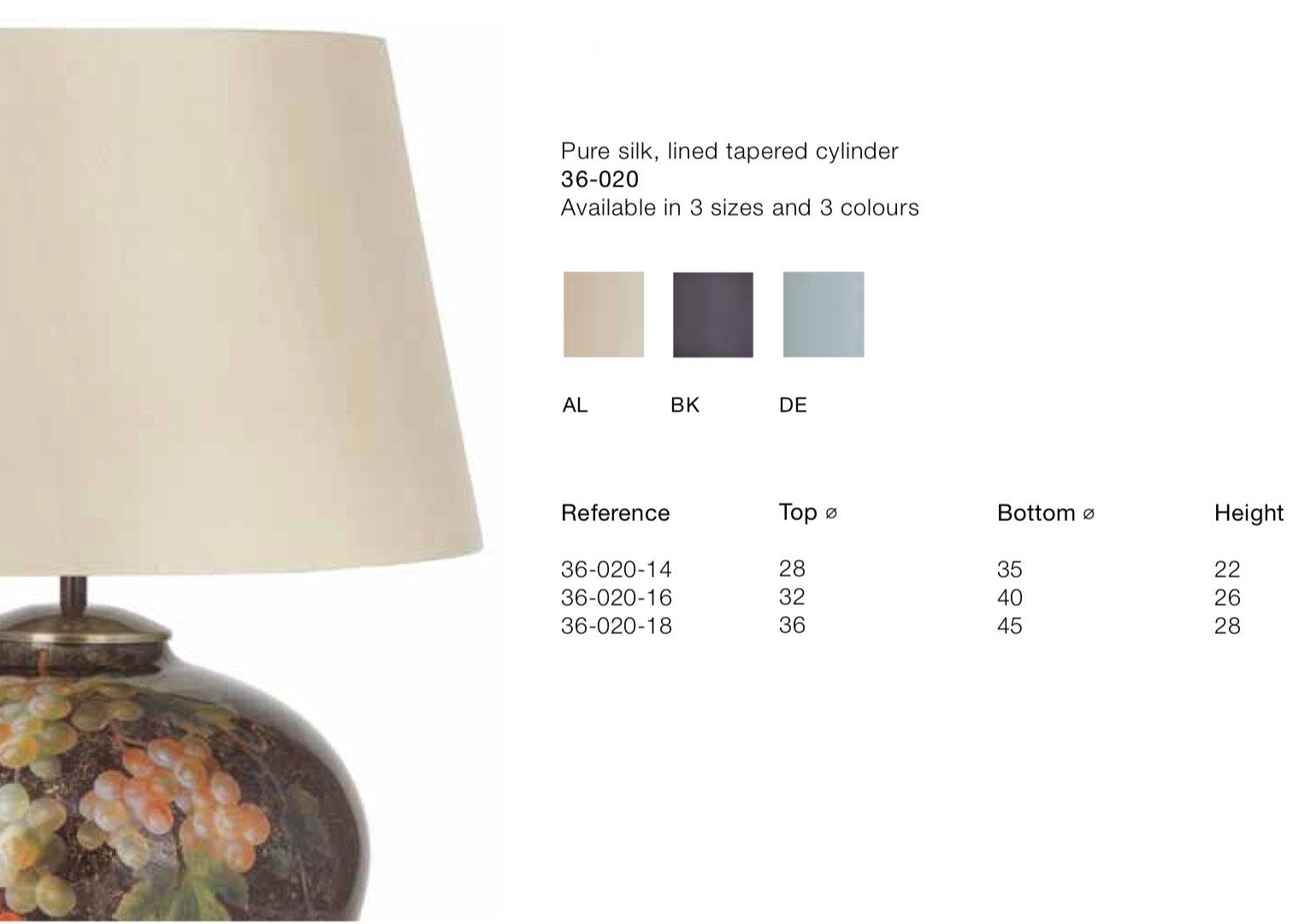 Lamp Shade - Pure Silk Lined & Tapered
