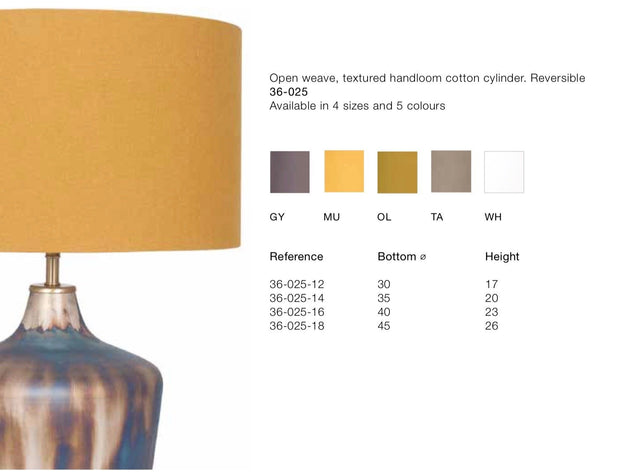 Lamp Shade -Various Sizes- Cotton Drum Cylinder