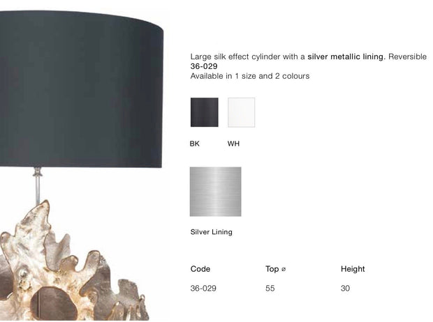 Lamp Shade -  Silver Metalic Lining - Silk Effect