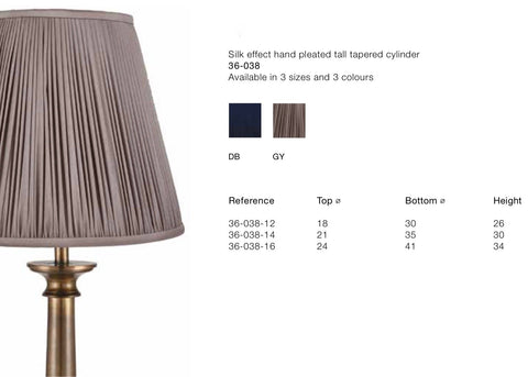 Lamp Shade - Silk Effect Hand Pleated Tapered
