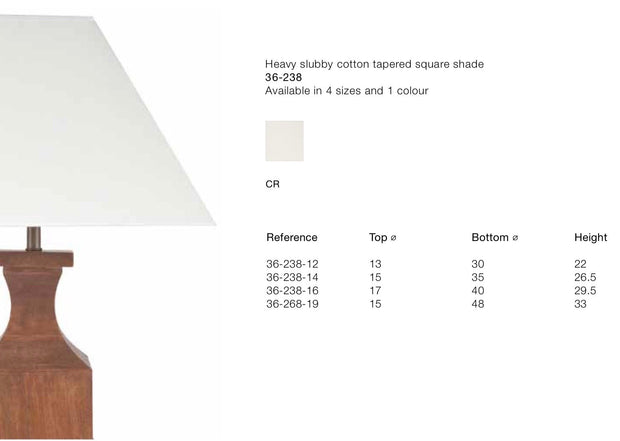 Lamp Shade - Cotton  Square Pyramid