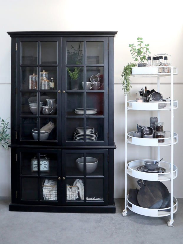 Display Cabinet with Glass Doors - Black