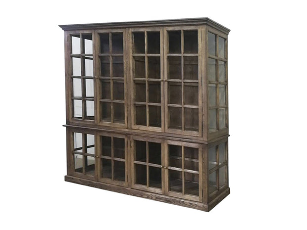 Large 8 Glass Door Display Cabinet - Recycled Timber