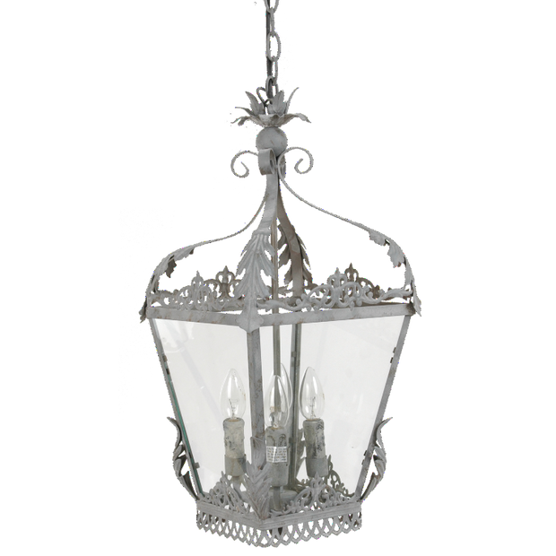 Intricate Metal Hanging Lantern Chandelier - Rustic Grey - Allissias Attic  &  Vintage French Style