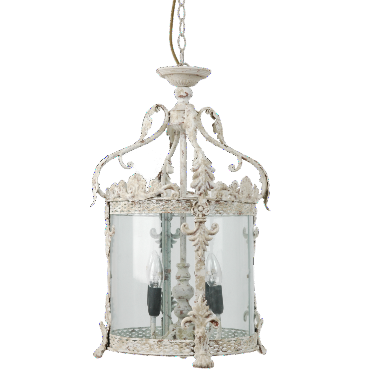 Intricate Circular Hanging Lantern - Rustic Whtie - Allissias Attic  &  Vintage French Style