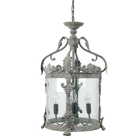 Intricate Circular Hanging Lantern - Rustic Grey - Allissias Attic  &  Vintage French Style