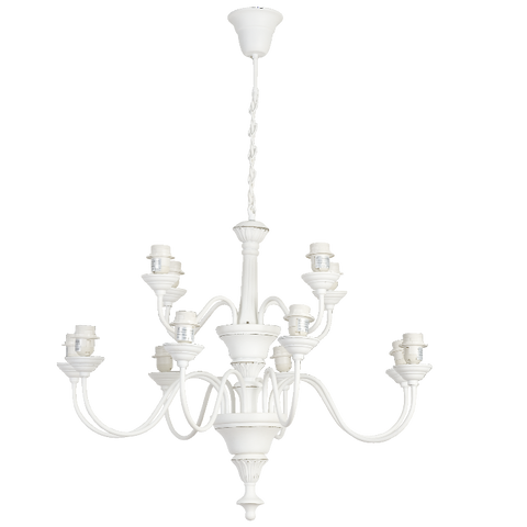 French Provincial White 12 Light Pendant - Allissias Attic  &  Vintage French Style