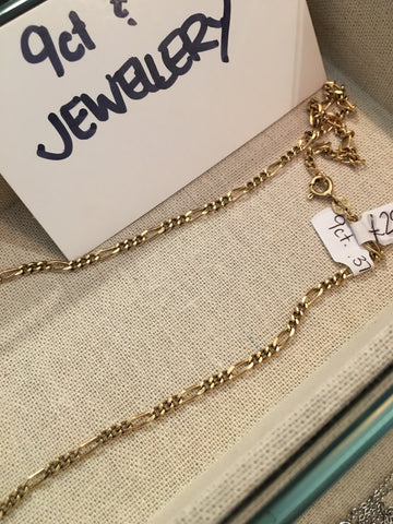 9ct Yellow Gold Figaro Chain Necklace 63cm  11grams - Allissias Attic  &  Vintage French Style - 2